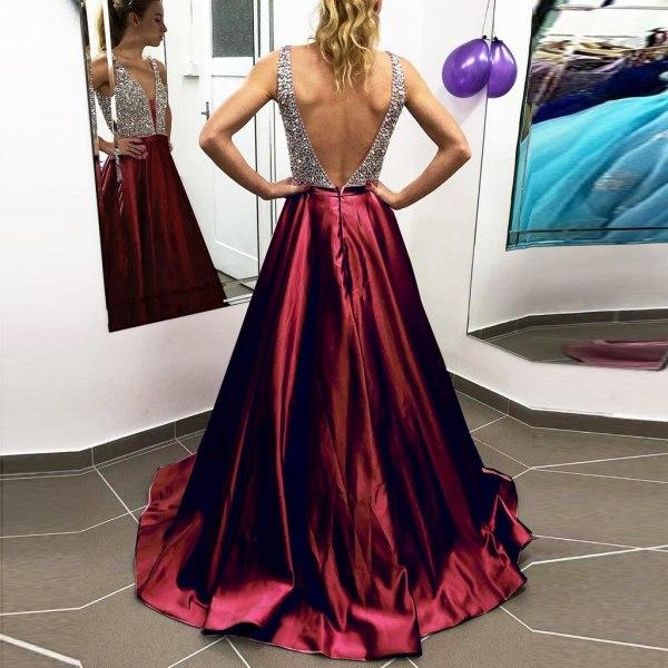 Elegant V-Neck Sequin Backless Long Gown