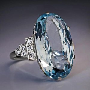 New Trendy Crystal Engagement Claws Design Austria Crystal Wedding Ring for Bridal Gifts Elegant Oval Blue Crystal Finger Rings