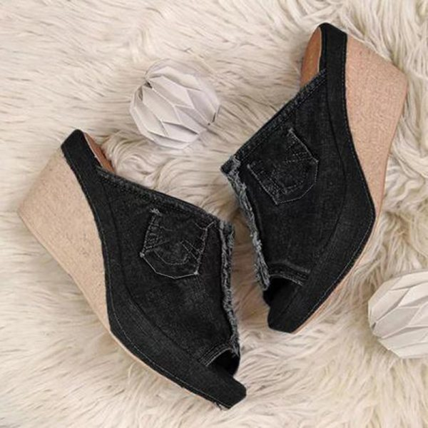 New Arrival 2020 Women Sandals Women Summer Fashion Leisure Fish Mouth Sandals Thick Bottom Slippers Wedges Shoes Sandalias