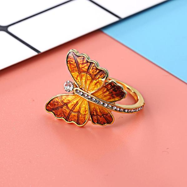Trendy Creative Butterfly Crystal Finger Wedding Rings Yellow Blue Color Wing Luxury Shiny Glamour Ring Jewelry Girl Gift Bijoux