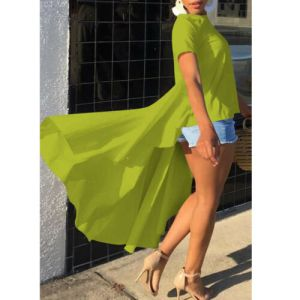 Women's Casual Loose Short Sleeve Tunic Top Long Tail Solid Color Loose Casual High Quality 2019 New Hot T-Shirt Plus Size