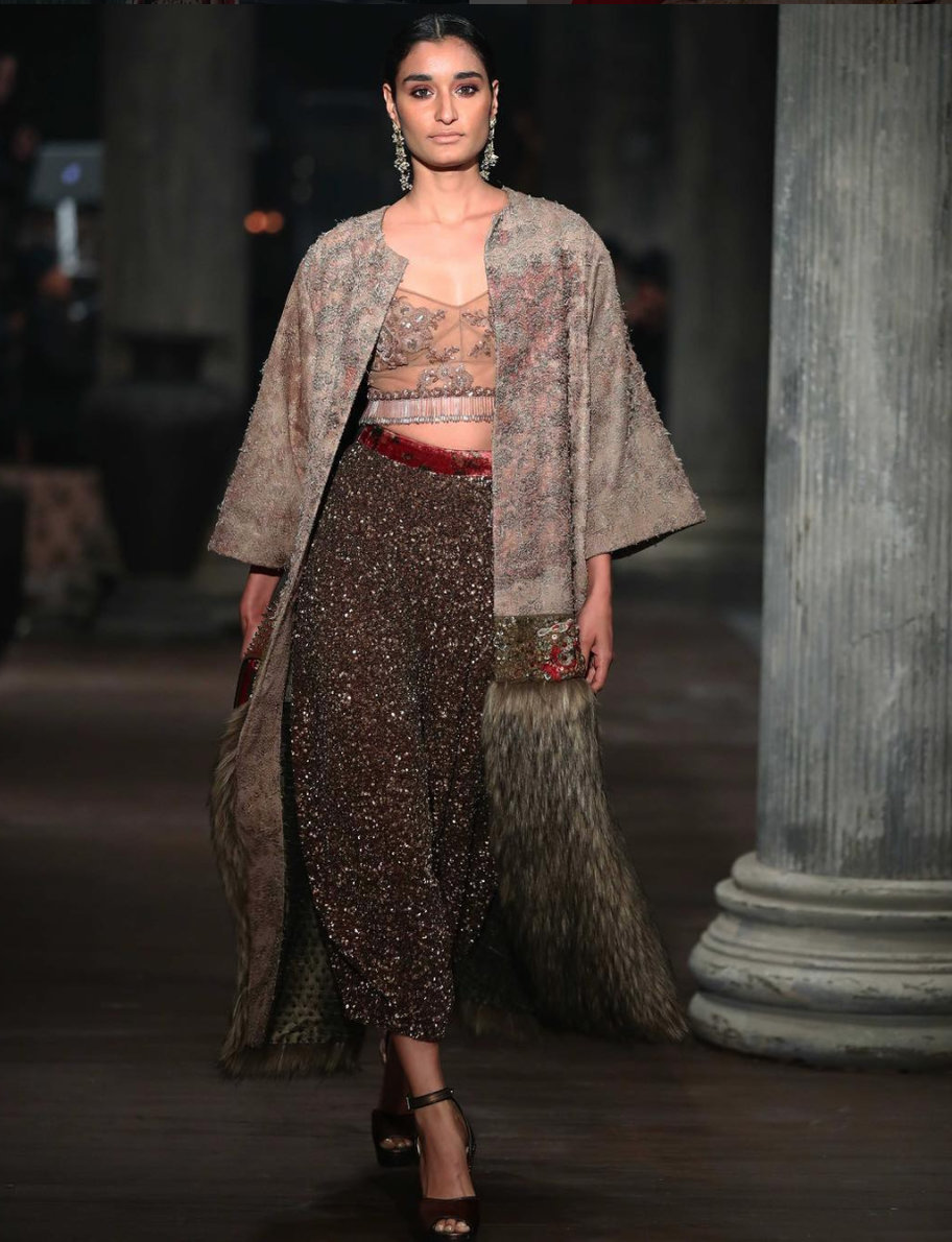 Sabyasachi Collection - high waisted skirt with a fur detailed jacket