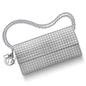 """LADY DIOR"" CROISIÈRE WALLET SILVER-TONE PERFORATED CALFSKIN"