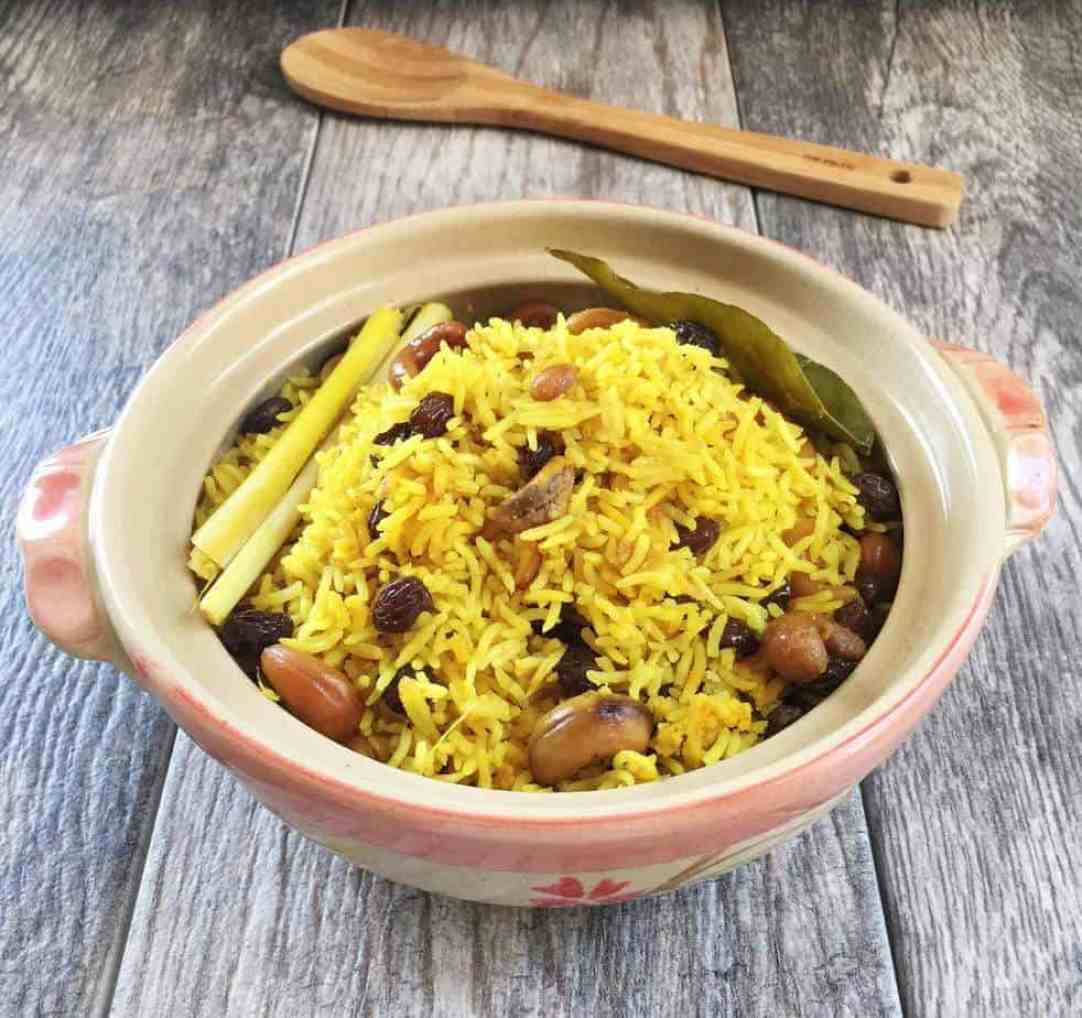 Yellow Basmati Rice with Turmeric, Cashews and Raisins