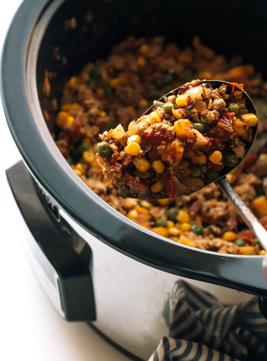 slow cooker ground turkey with butternut squash, corn, peas and ...