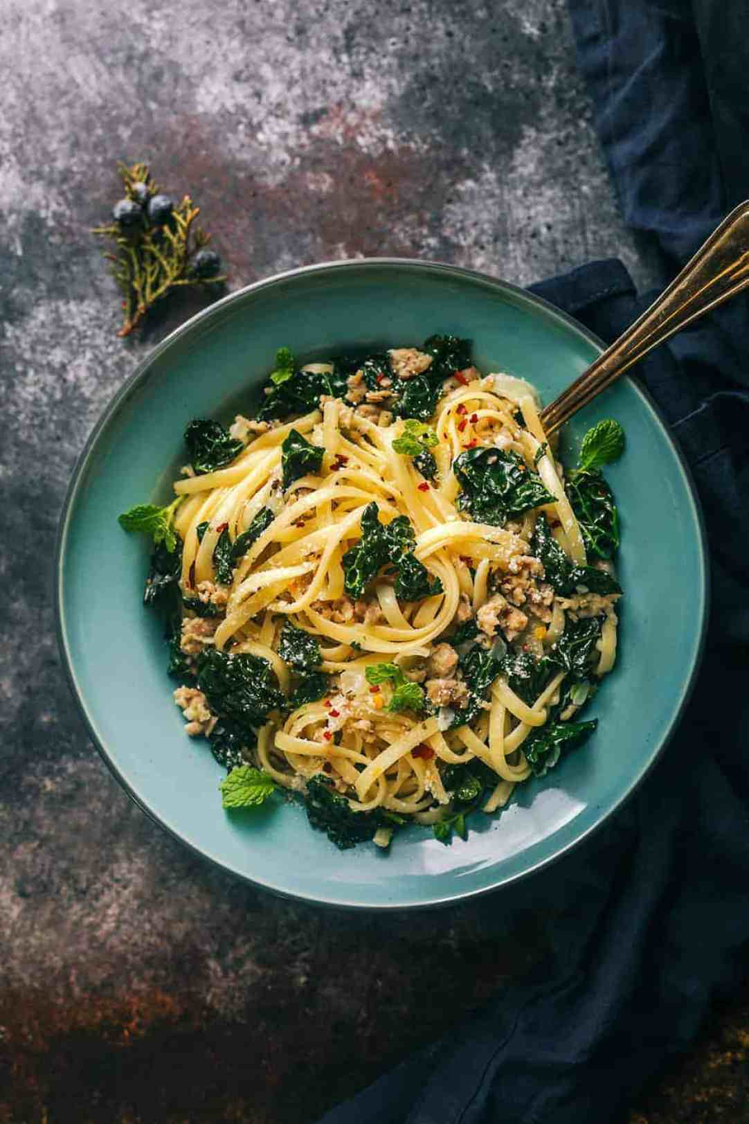 Fettuccine Alfredo with Chicken Sausage and Kale - Posh Journal
