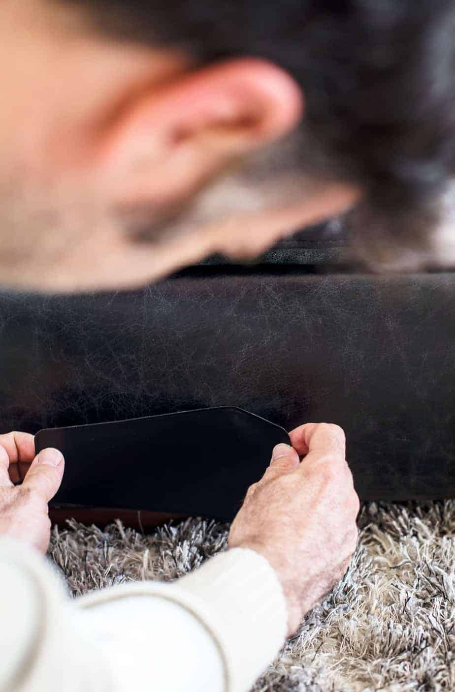 how to repair small hole in leather sofa flexsteel thornton reviews a couch repairing tear