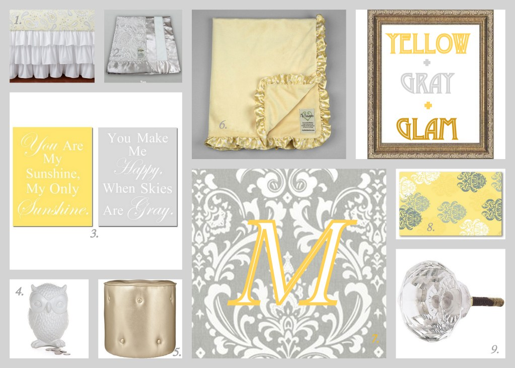 Yellow Gray & Glam ~ Baby Nursery