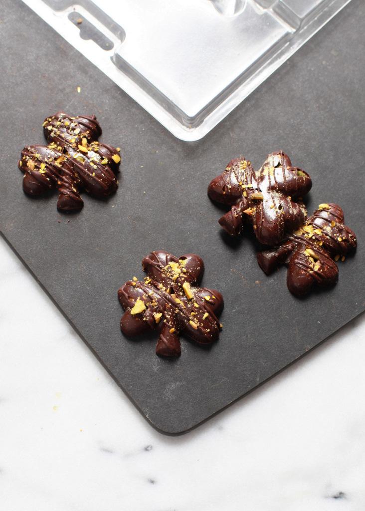 Sea Salt & Pisatchio Dark Chocolate Shamrocks | Recipes -Posh Little Designs