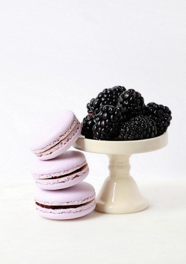 Blackberry Elderflower Macarons