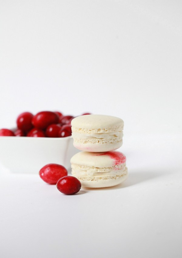 Cranberry Vanilla Bean Macarons