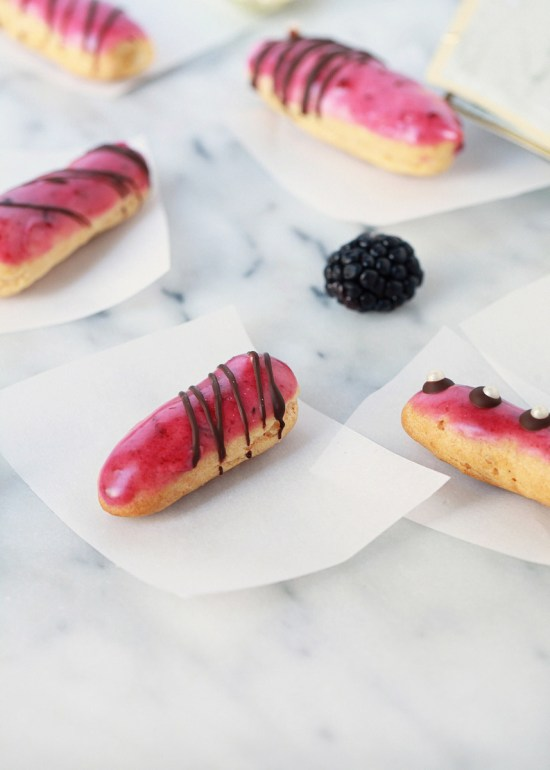 Mini Blackberry Eclairs | Posh Little Designs