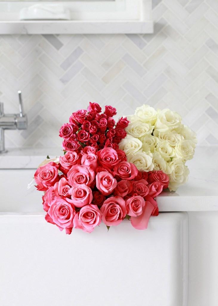 pink white roses