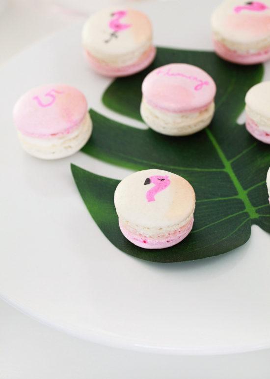 flamingo party macarons