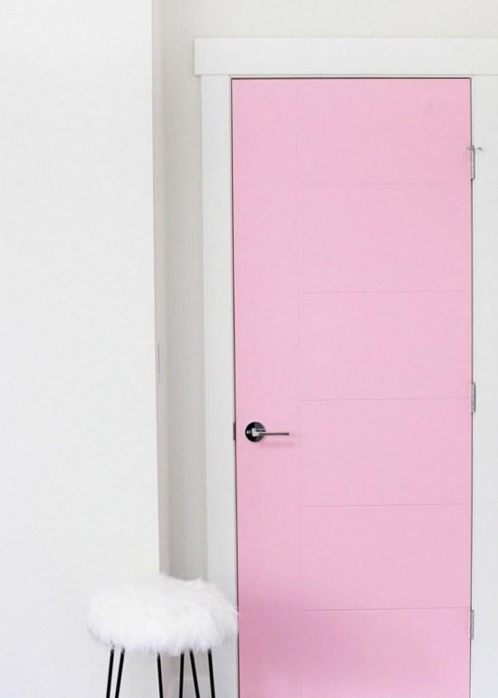 pink paint, door, office