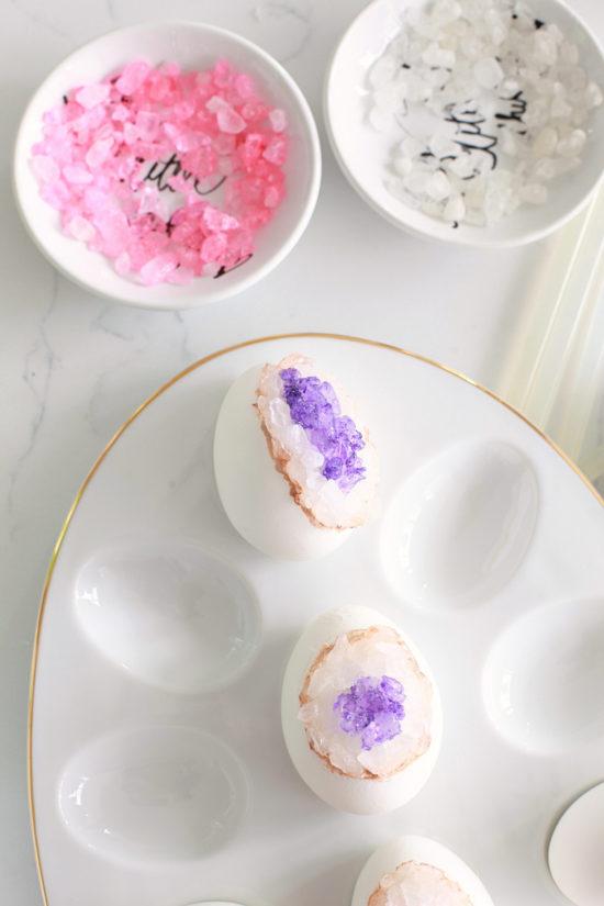 DIY Geode Easter Eggs, Crafts, Amethyst, Rose Quartz