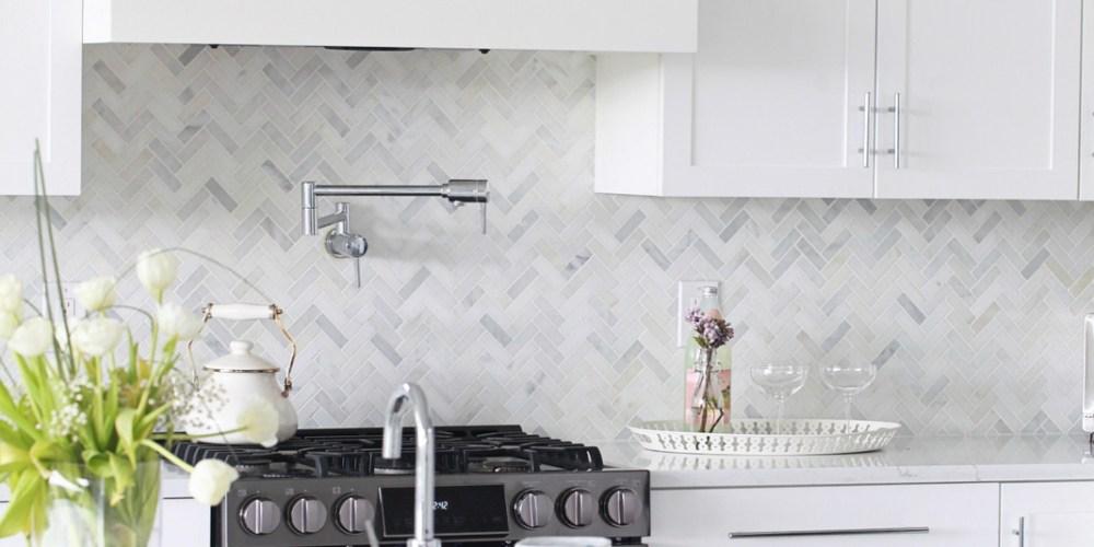 White Kitchen, Home Decor, Contemporary, Herringbone, Marble