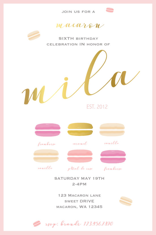 Macaron Party-Invitations-Invite-Birthday-Children-Parties