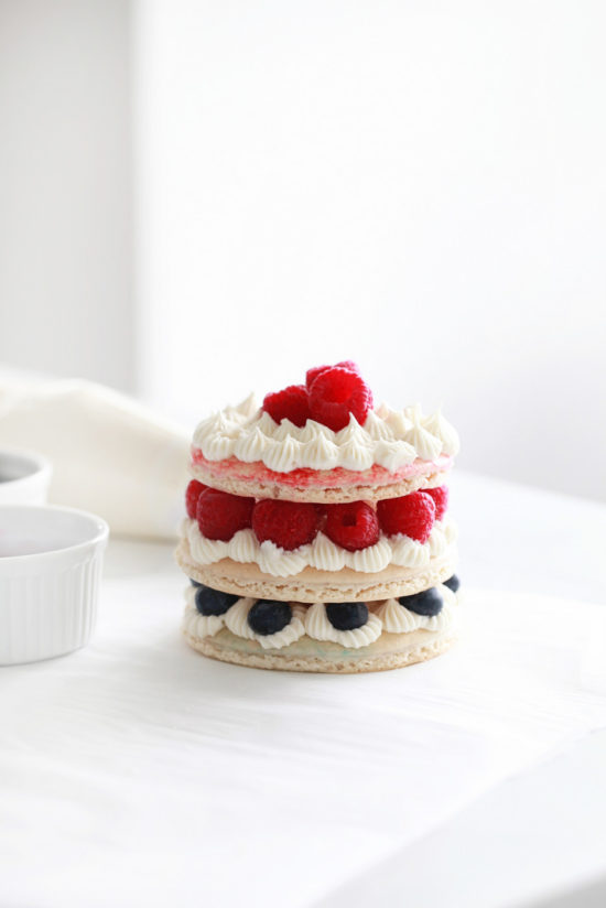 Macaron Cake, French Macarons, Berries, Fourth of July, Dairy Free, Gluten Free, Red White and Blue