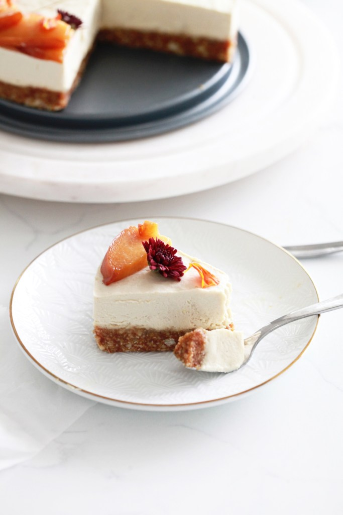 vegan-gluten free- cheesecake- ginger-peach- fall-recipes