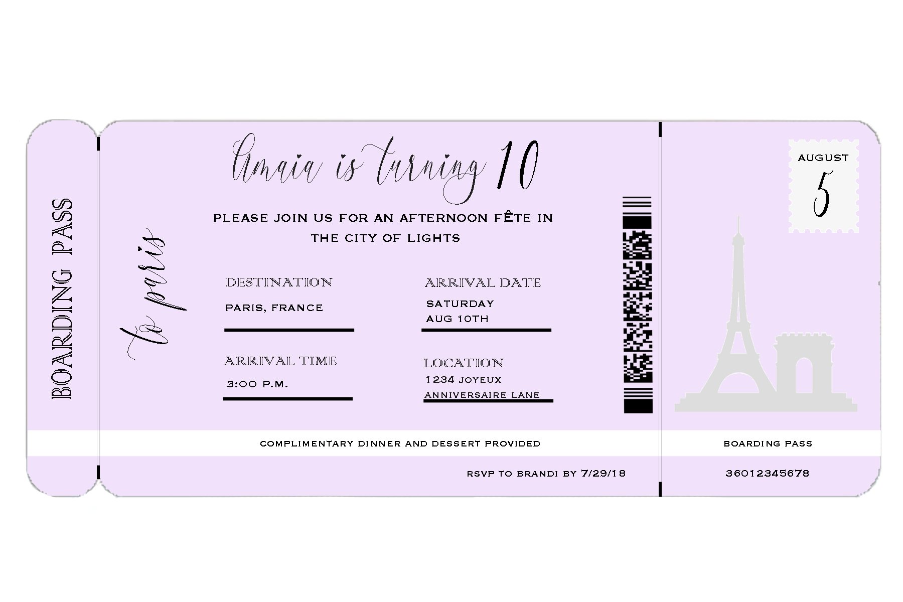 how to throw a parisian party-boarding-pass-invite-childrens-birthday