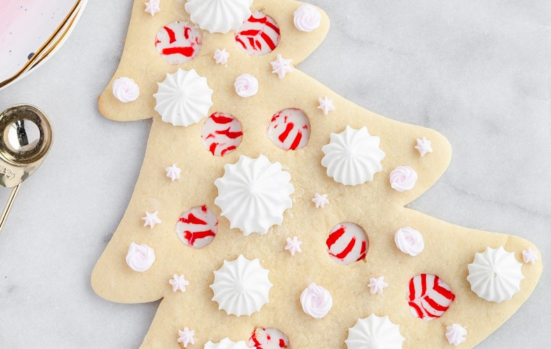 Peppermint Christmas Tree Sugar Cookie