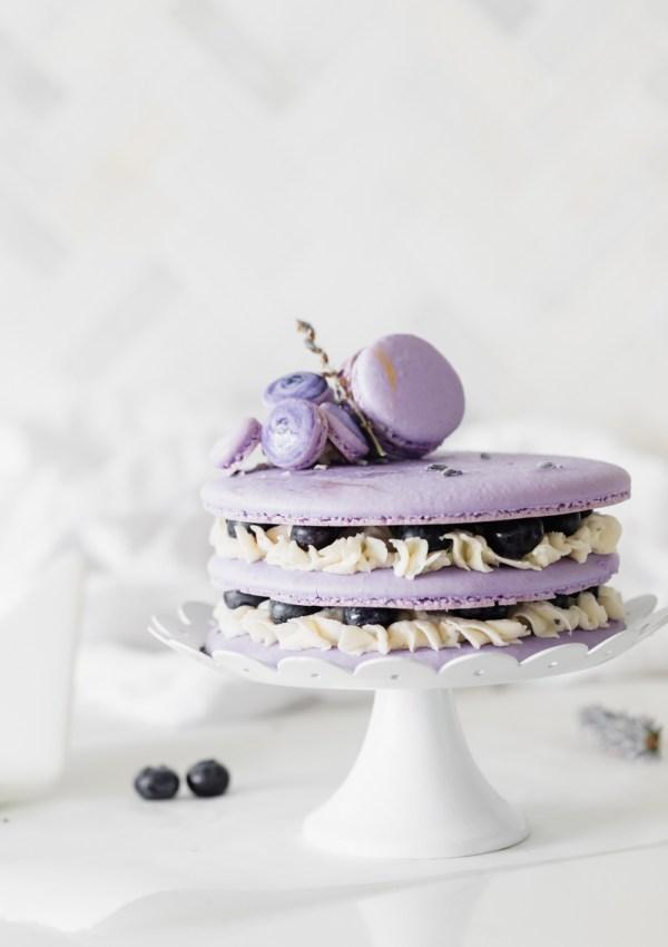 Blueberry Lavender Macaron Cake