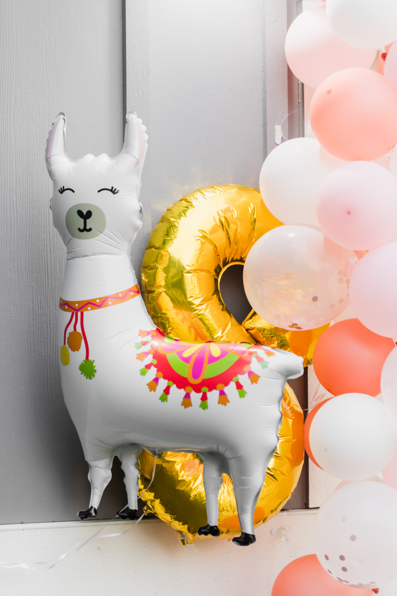 Llama 8th birthday balloons