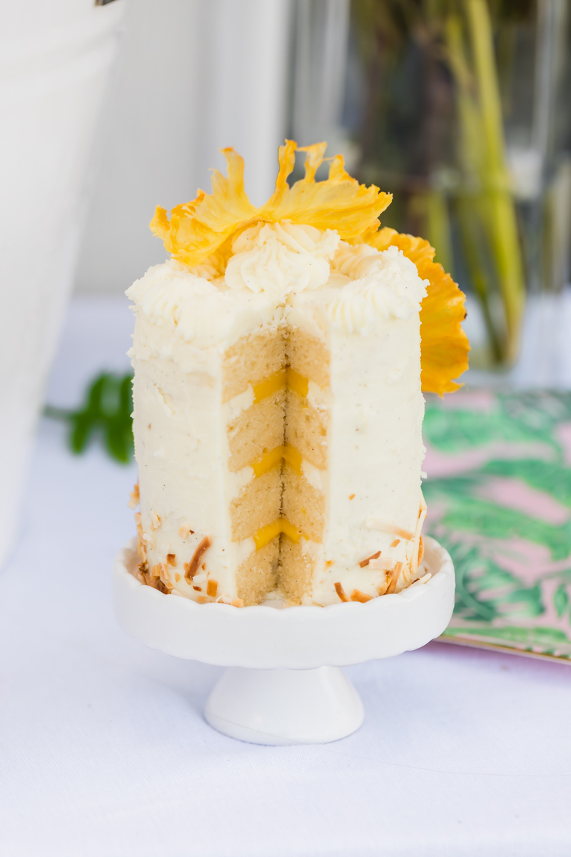 miniature birthday cake with pineapple flowers