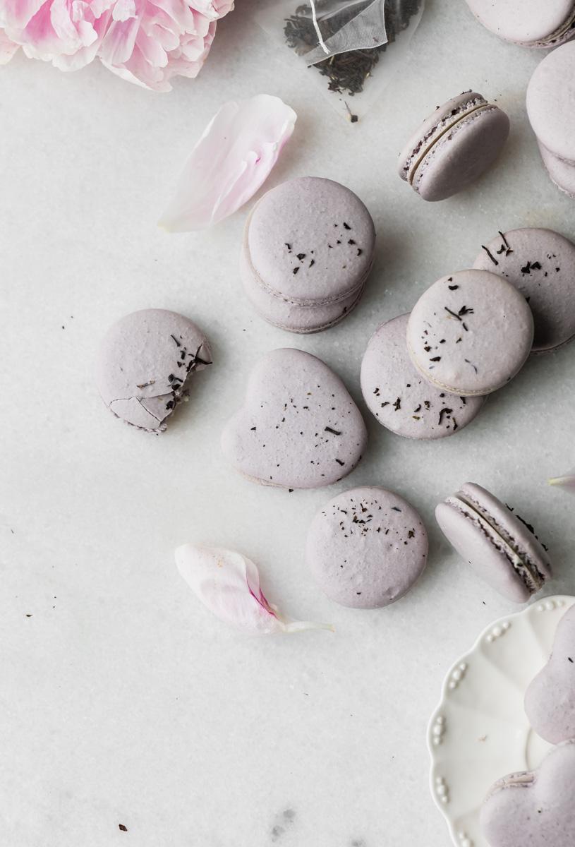 earl grey French macarons - food photography