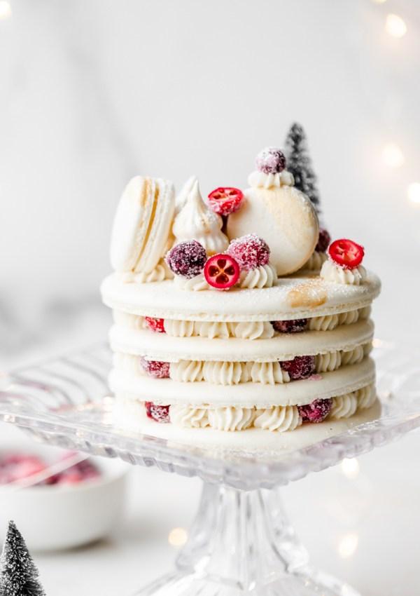 Winter Cranberry Vanilla Macaron Cake