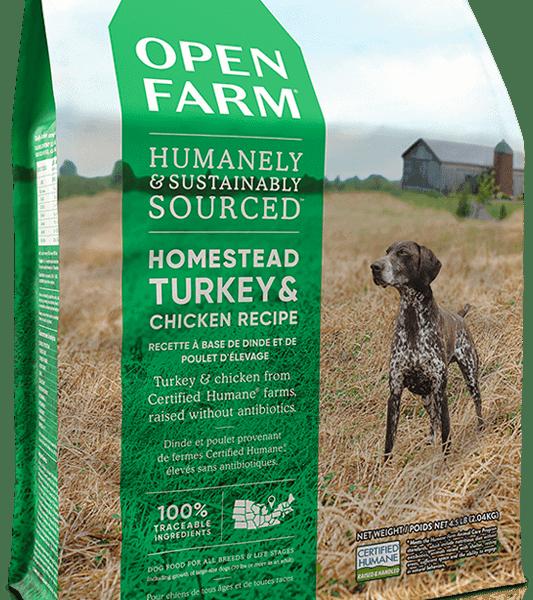 OPEN FARM DOG DRY GRAIN FREE HOMESTEAD TURKEY & CHICKEN 4.5# 1