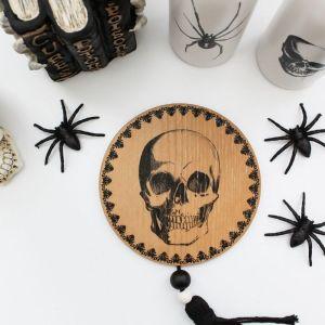 Halloween, Skull, Scary Books, Skull Vase, Spider, Styled Stock Image
