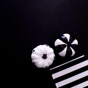 Halloween, Black and White Pumpkins, Black Background, Notebook