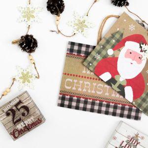 Holidays, Christmas, Christmas Bags, Pine Cone Garland, Flat Lay Styled Stock Image
