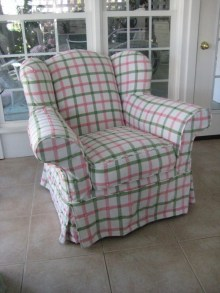 Cottage plaid pink and green slipcovered chair