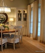 Burlap bordered curtains and canvas seat covers