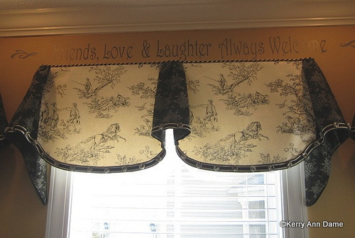Toile Valance with French Country Floral and Braid Trim