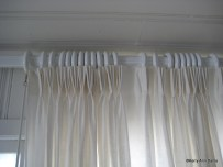 Pinch pleats, unlined white linen on heavy wood rod, ocean front