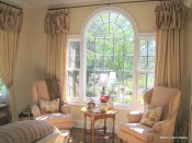 Palladian Window, Linen panels with scarf valance