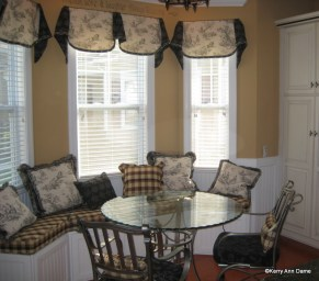 Bay Window in Kitchen, Black and White Toile