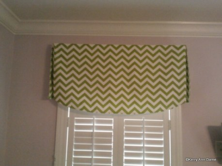 Lime Green Chevron Valance, Girls Bedroom