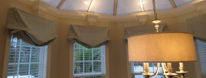 Greek Key Pattern, London Shade Valances around a Kitchen