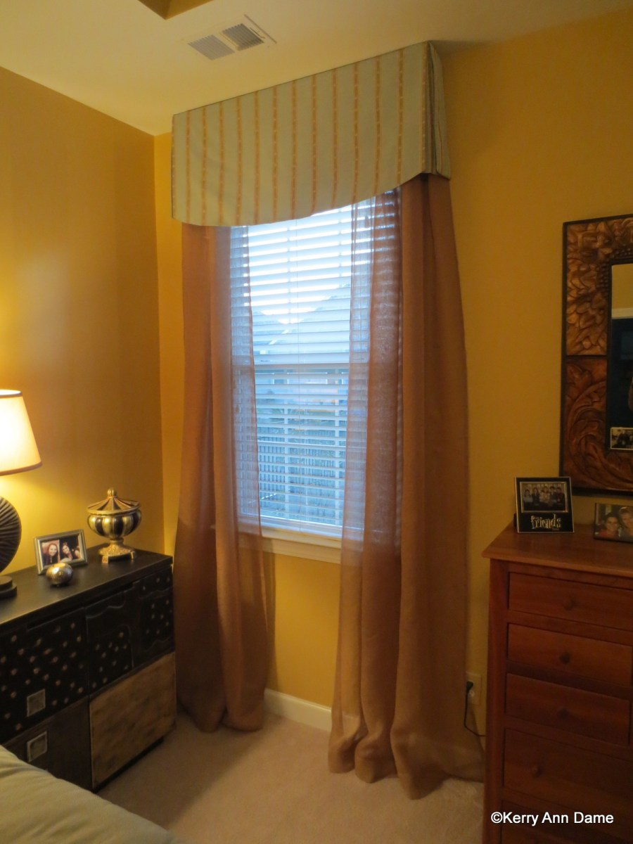Tailored Valance with Copper Sheer Panels