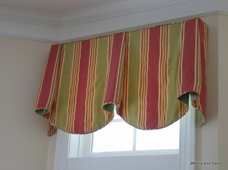 Coral and Green Awning Stripe Valance