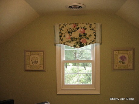 Cottage Dormer Hydrangea and Ticking Valance