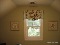Tailored Pennant Valance of Floral and Ticking