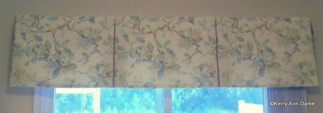 Soft Aqua and Cream Floral Linen Valance