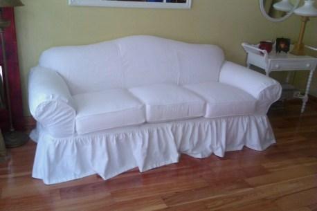 White Shabby Slipcovered Sofa