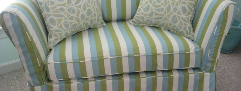Outdoor stripe slipcover aqua and lime